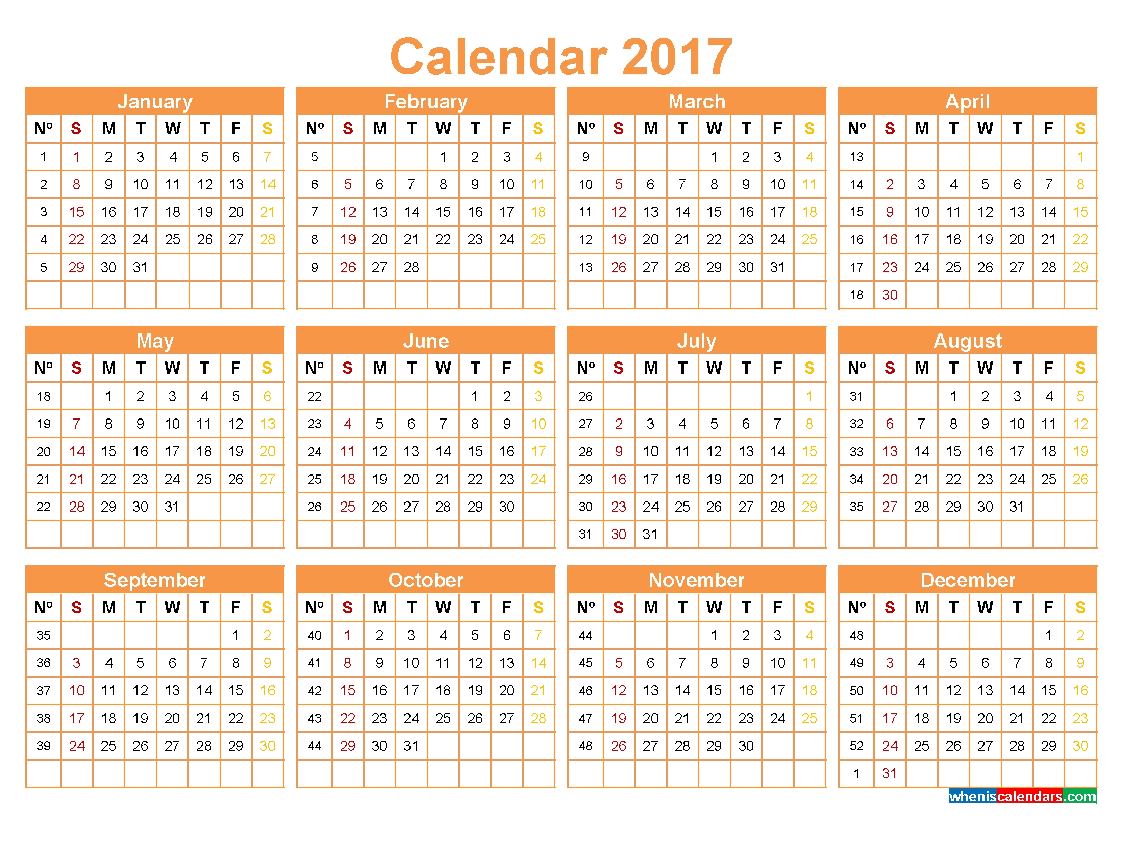 Calendar 2017 With Week Numbers Yearly Calendar Template 20183abry