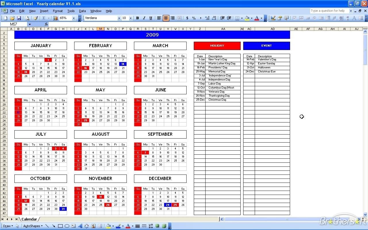 Calendar Template Excel Yun56co