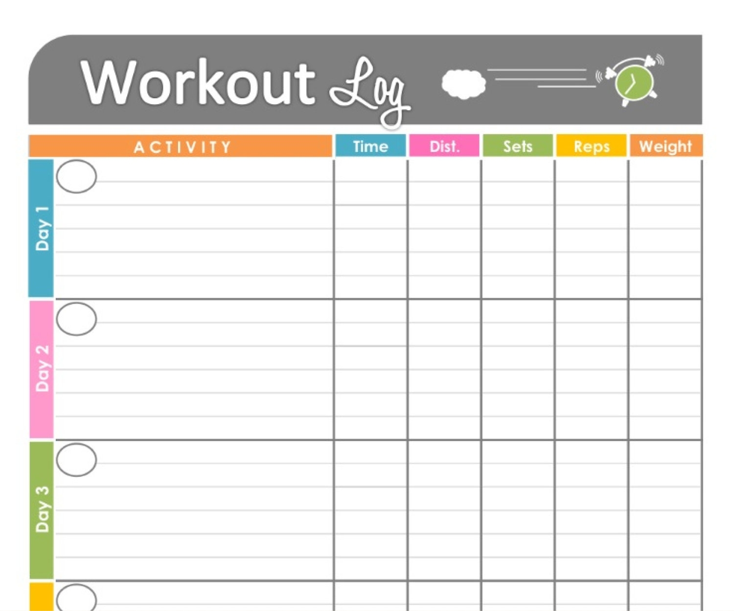 Calendar Weekly Workout Calendar Template  Xjb