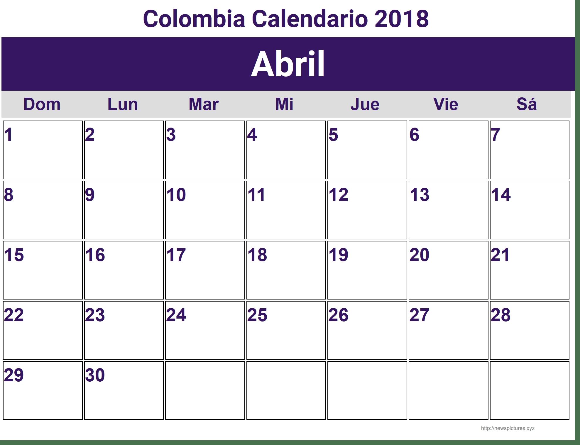Calendario 2018 Colombia Excel Fieldstationco  Xjb