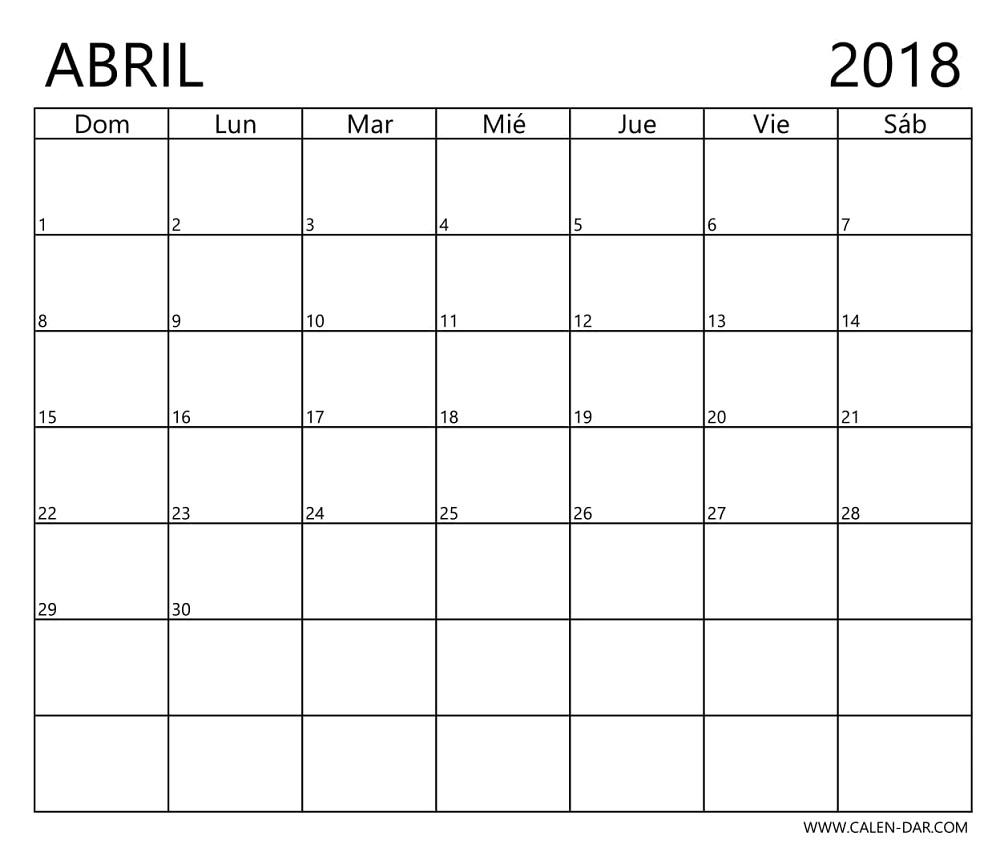 Calendario Abril 2018 Para Imprimir Blanco Plantilla Gratuita En  Xjb