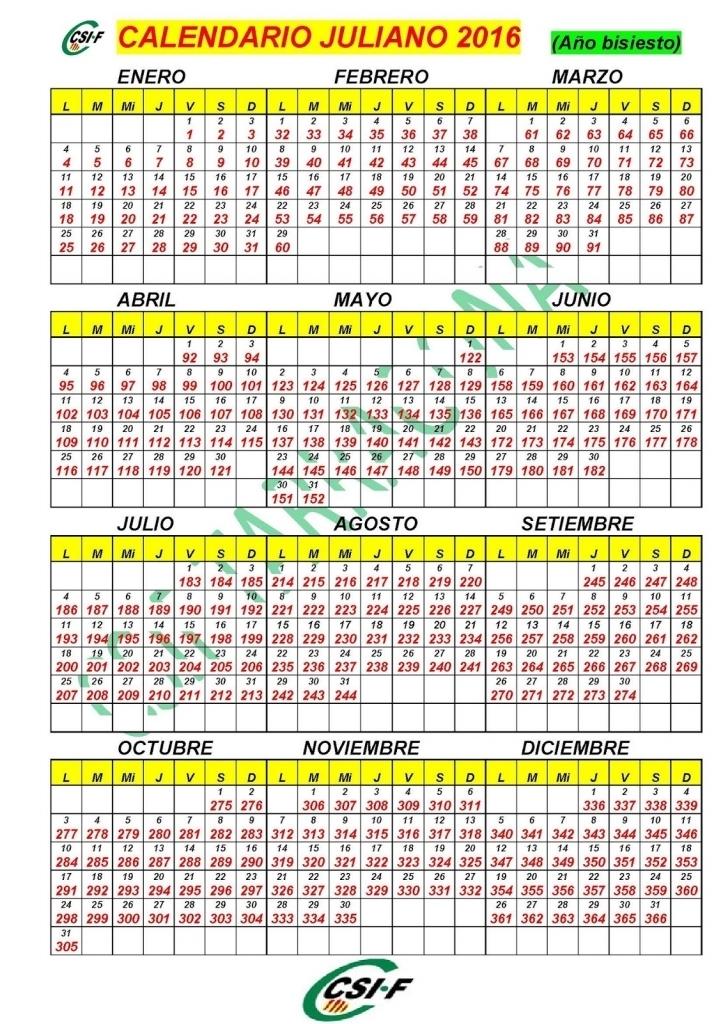 Calendario Con Dia Juliano 2016 Calendar Printable 2018