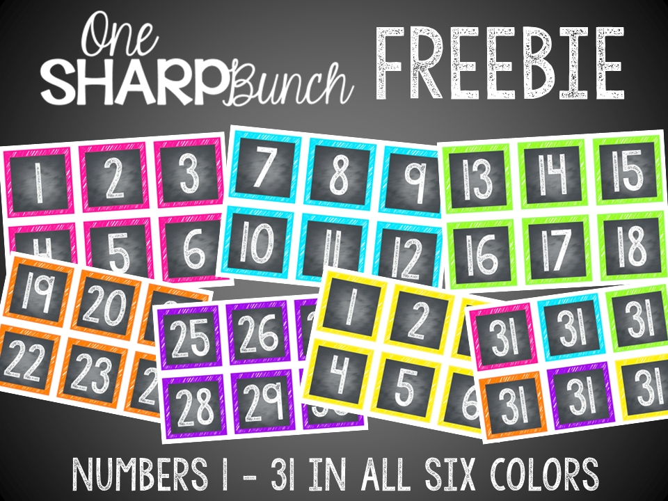 Classroom Reveal First Day Freebies Chalkboard Numbers