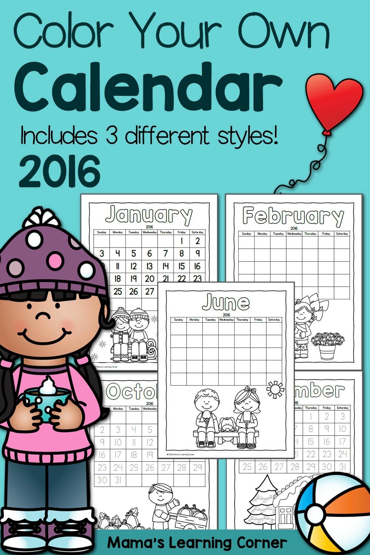 Color Fun Printable Calendar For Kids 2016 Mamas Learning Corner  Xjb