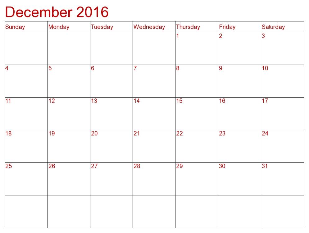 December Decorated Calendar Template 2016 Blank Calendar Design 2018