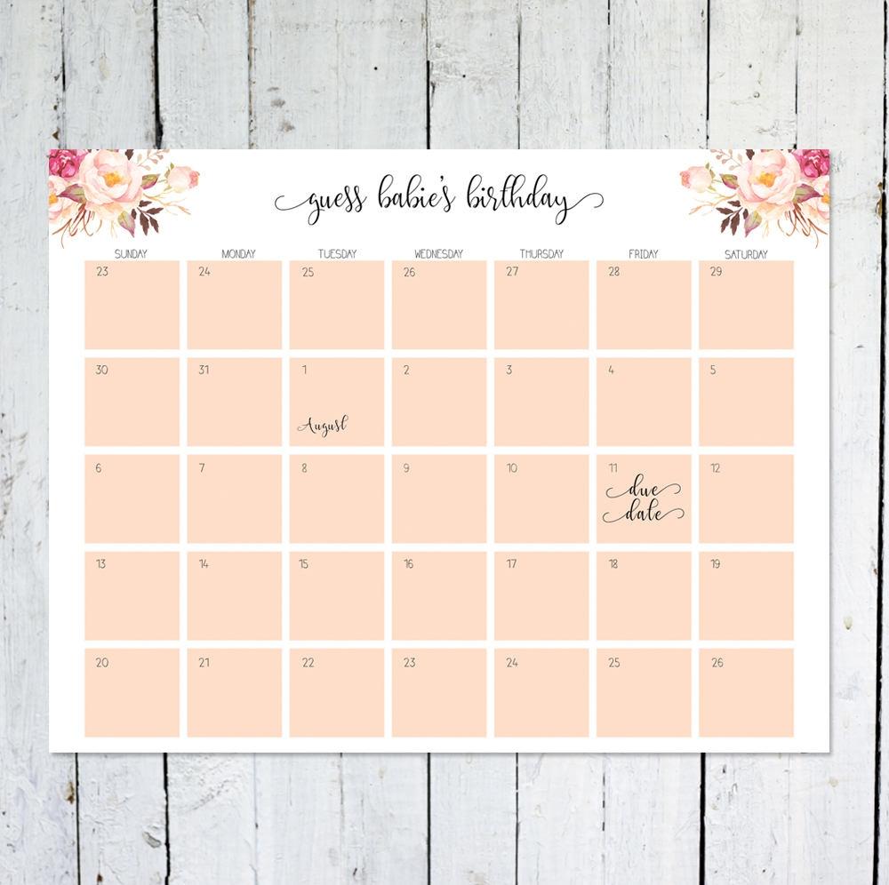 Due Date Calendar Boho Floral Guess Bas Due Date3abry