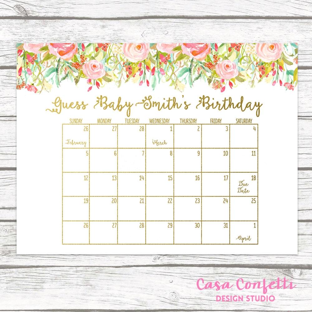 Due Date Calendar Guess Bas Due Date Ba Shower3abry