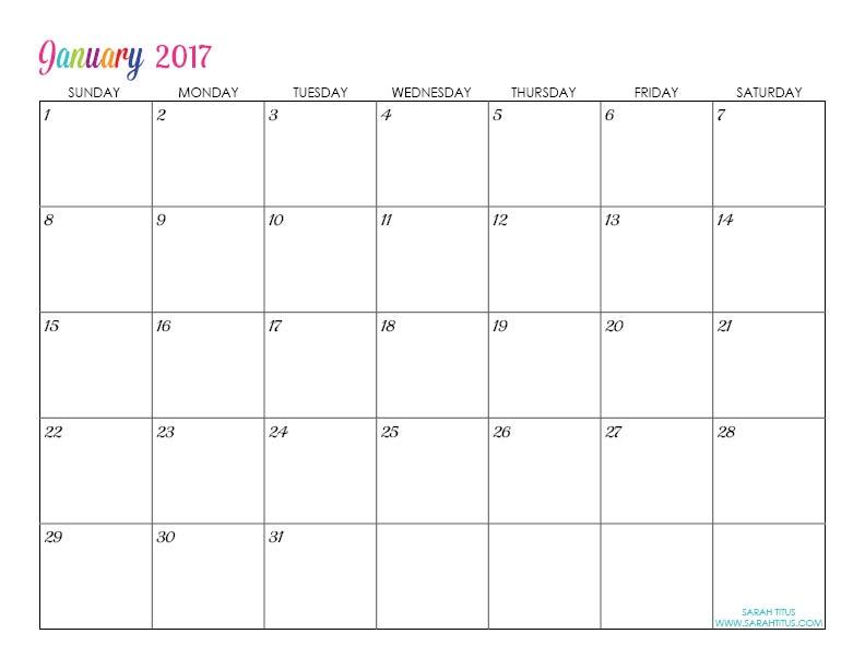 Editable Calendar Template 2017 Northfourthwallco