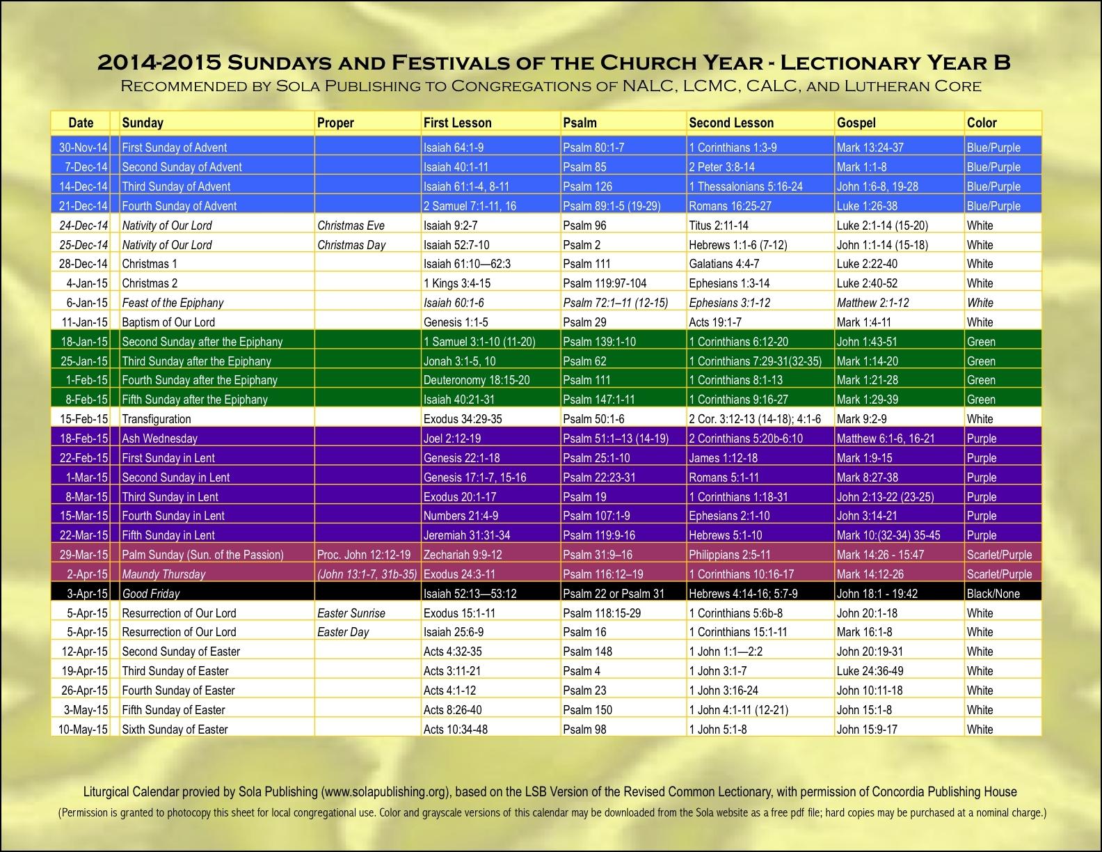 Elca Liturgical Calendar Free Calendar Template  Xjb