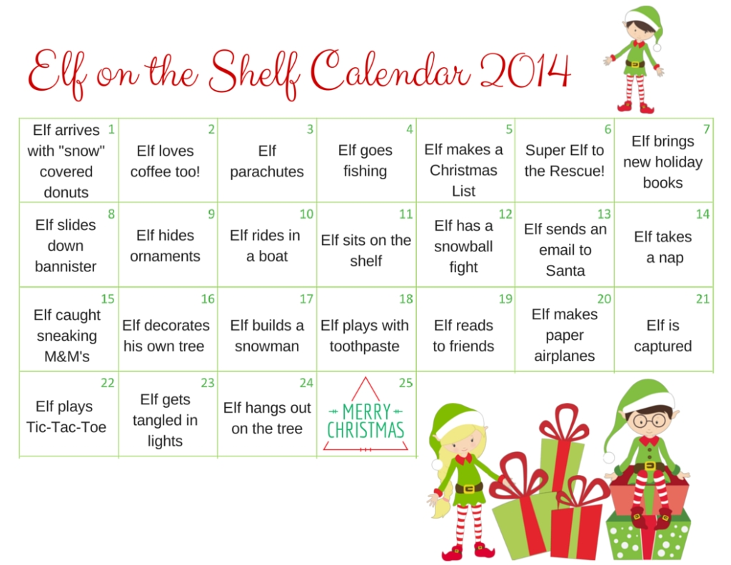 Elf On The Shelf Calendar 2014 A Grande Life3abry
