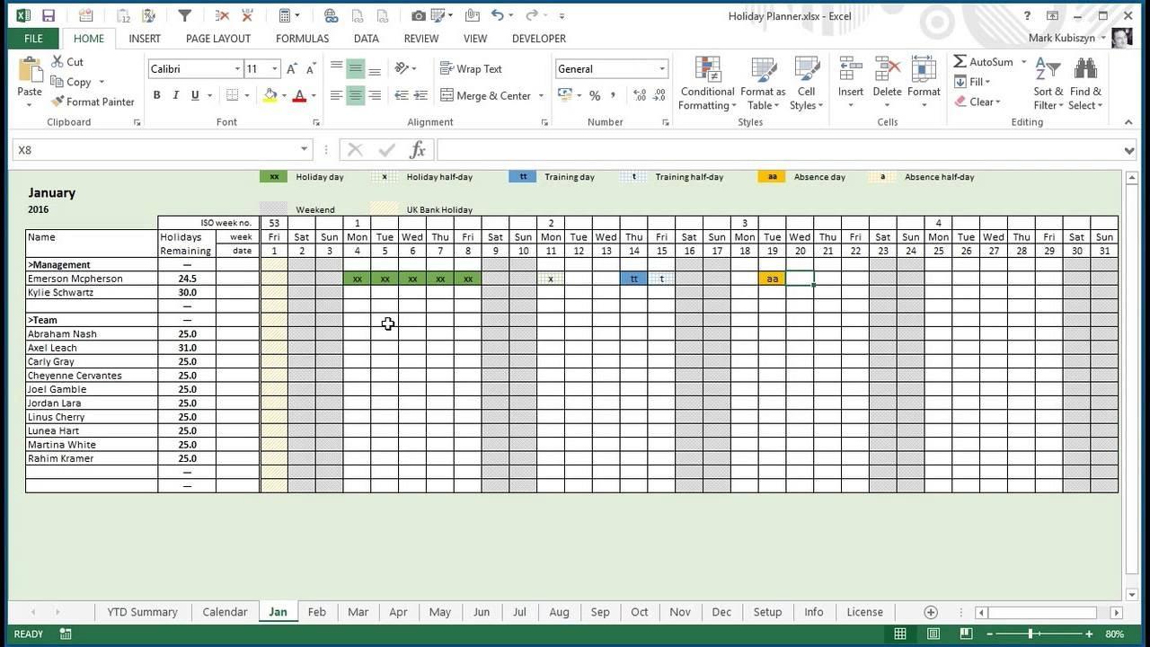 Employee Vacation Planner Template Excel Kukkoblock Templates 89uj