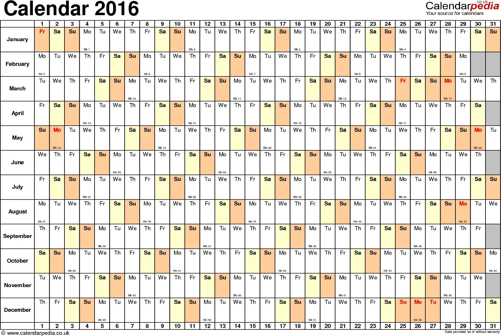 Excel Calendar 2016 Uk 16 Printable Templates Xlsx Free3abry