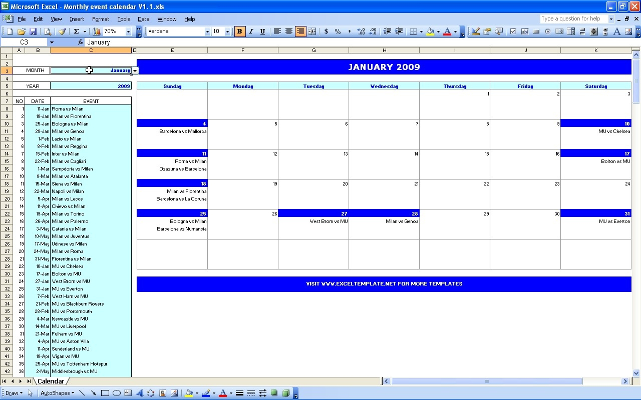 Excel Month Template Yun56co3abry