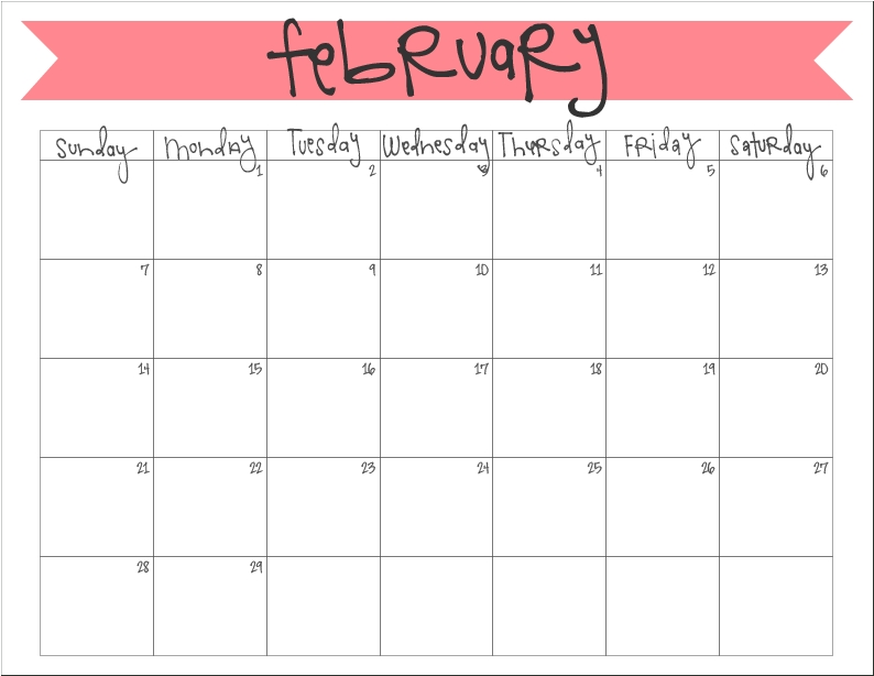 February 2016 Calendar Free Printable Printable Monthly