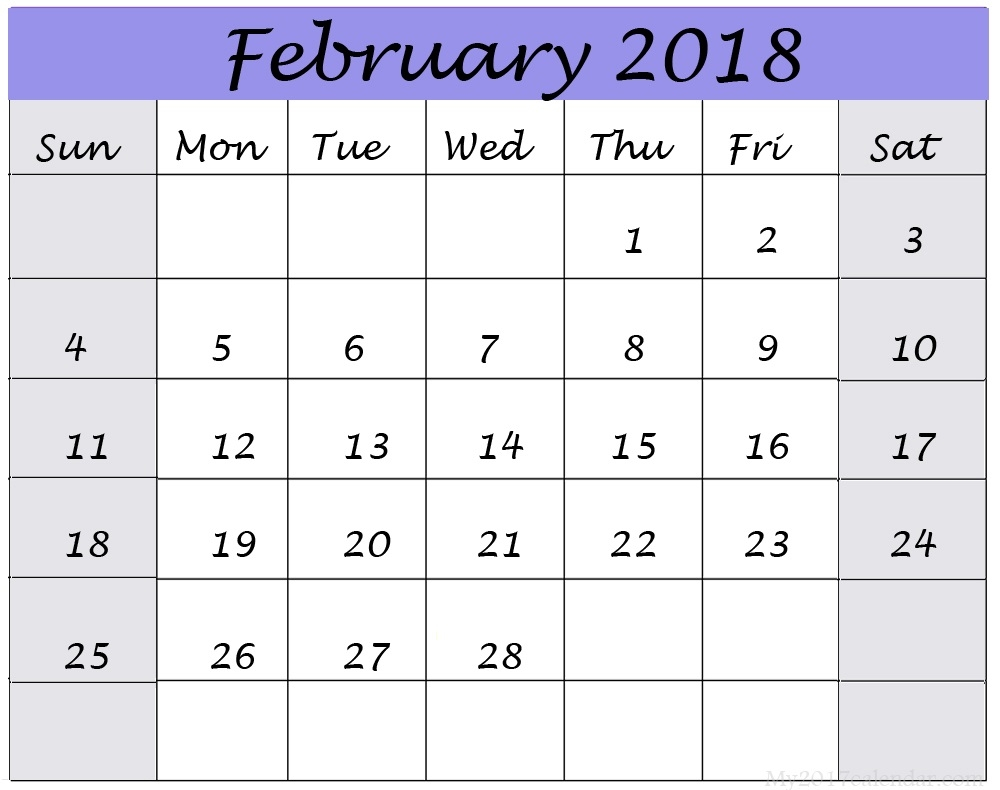 February 2018 Calendar Printable Templates This Site Provides  Xjb