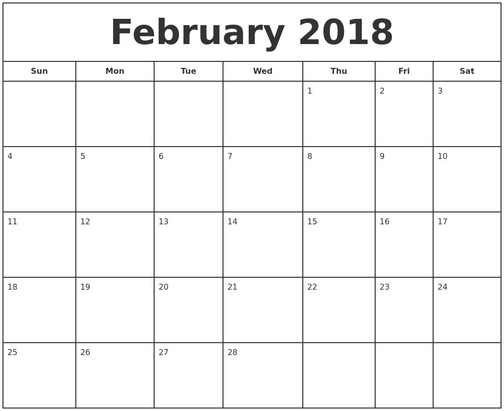 February 2018 Print Free Calendar