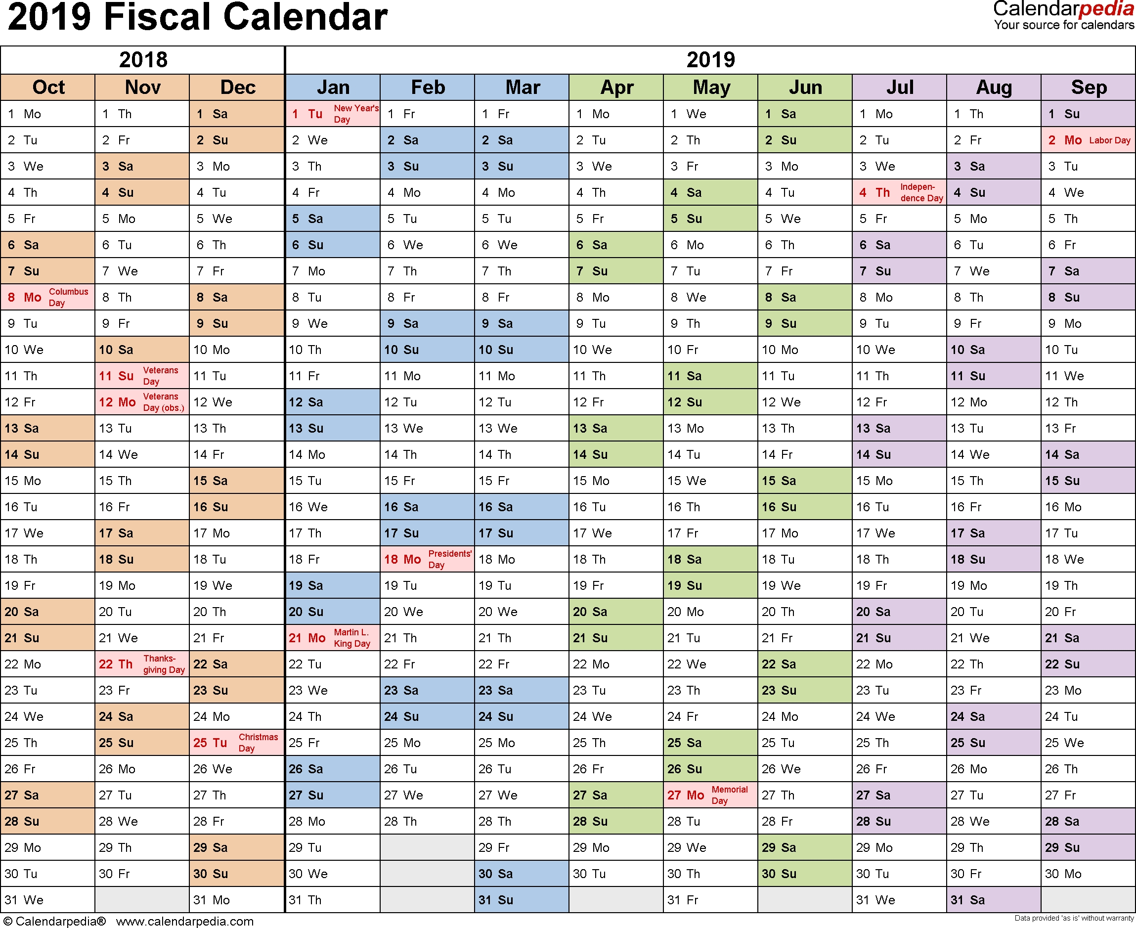 Fiscal Calendars 2019 As Free Printable Excel Templates
