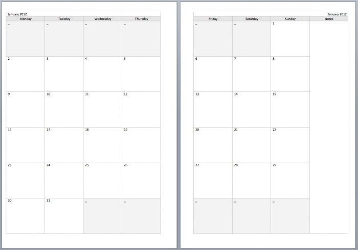 Free 2 Page Monthly Calendar Printable 2016 Template Calendar