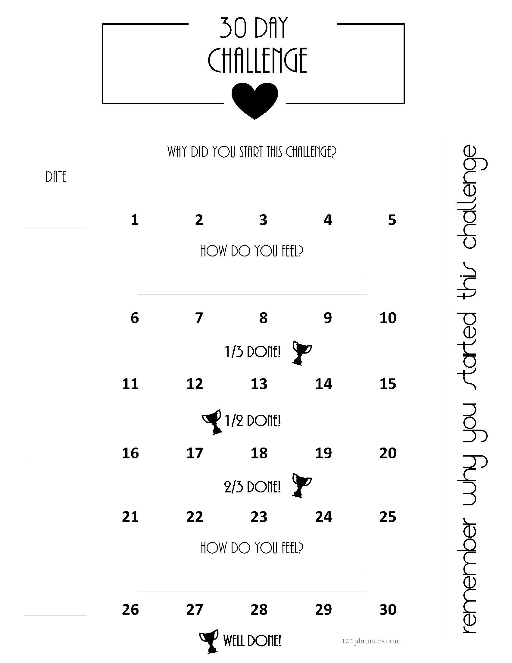 Free 30 Day Challenge Calendar3abry