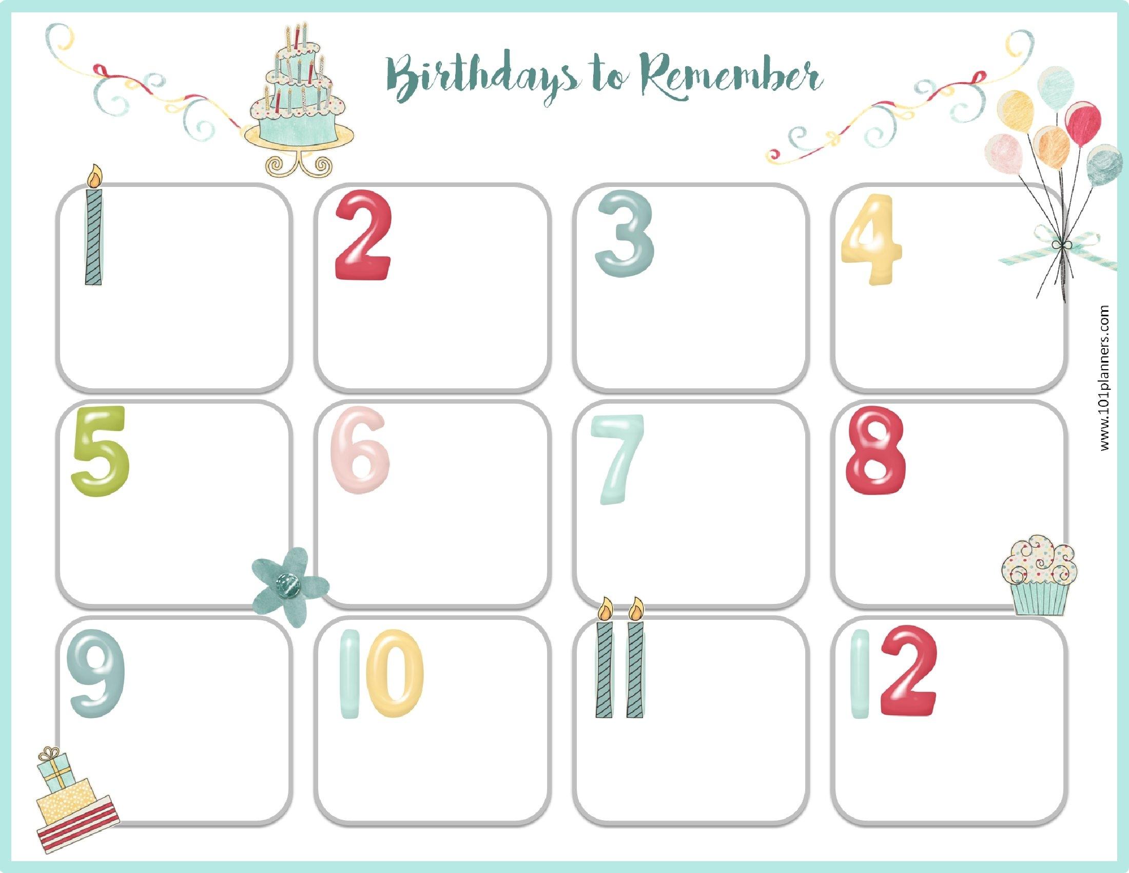 Free Birthday Calendar3abry