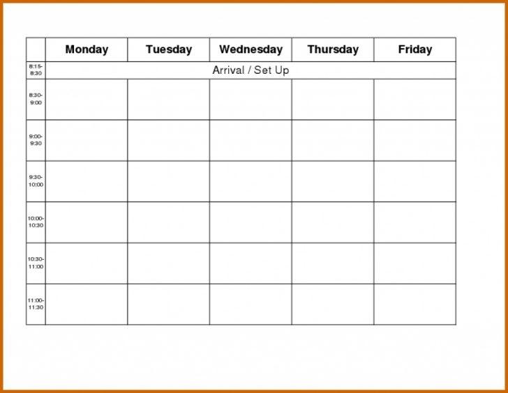 Free Blank Monday Through Friday Calendar Archives Calendar 2018