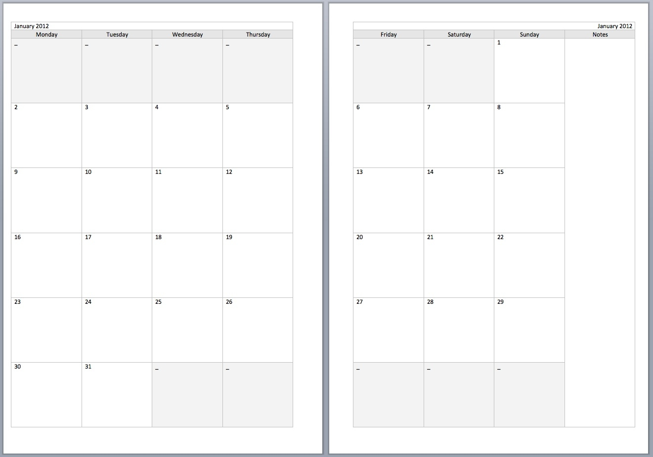 Free Monthly Filofax Diary Templates For A5 And Personal Sizes  Xjb