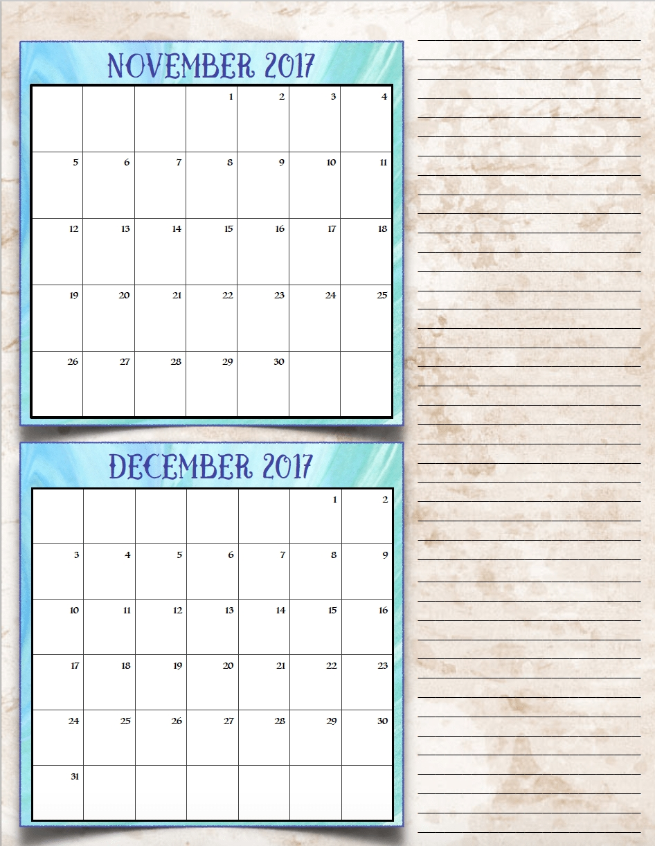 Free Printable 2017 Bimonthly Calendars 7 Different Designs3abry