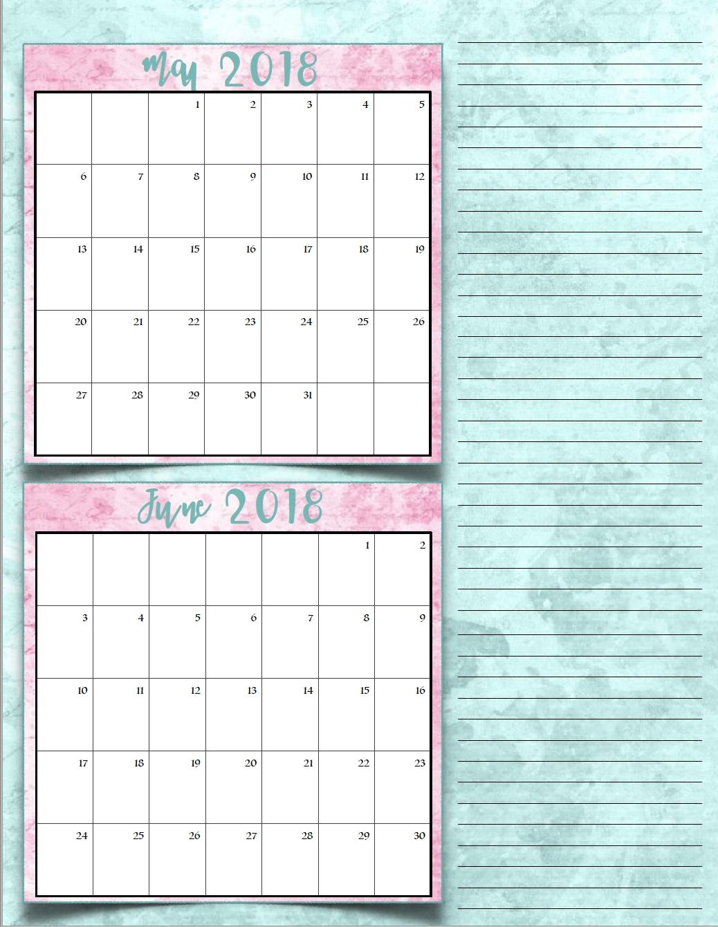 Free Printable 2018 Bimonthly Calendars 6 Designs3abry