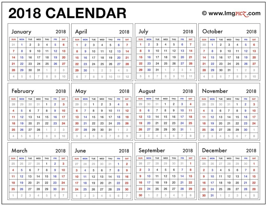 Free Printable 2018 Calendar One Page Year At A Glance3abry