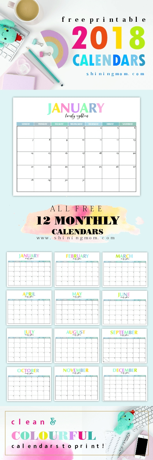 Free Printable 2018 Calendar Pretty And Colorful Free