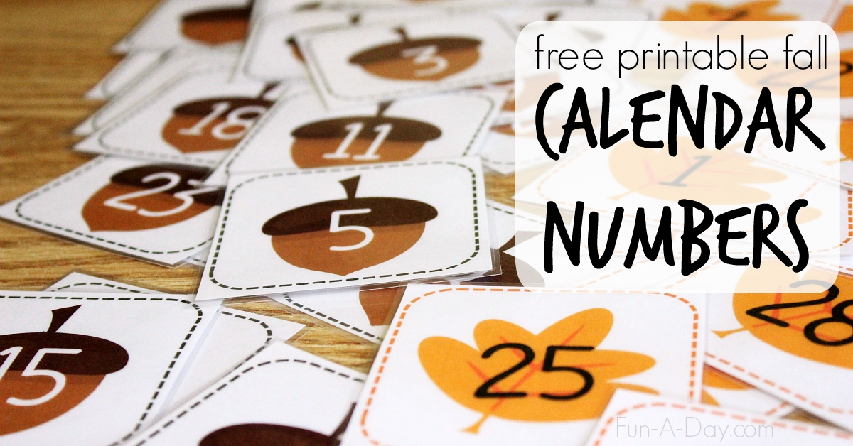 Free Printable Calendar Numbers For Fall