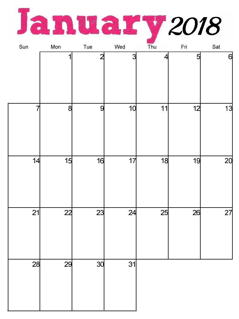 Free Printable January 2018 Vertical Calendar Maxcalendars  Xjb