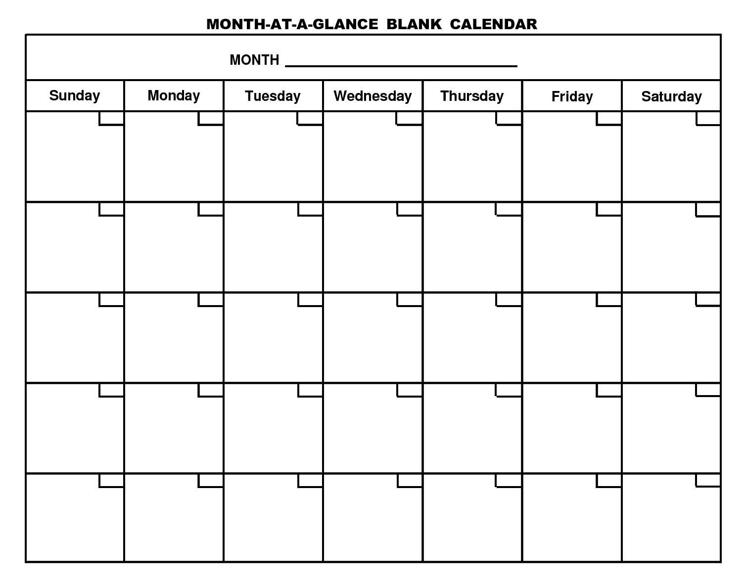 Free Printable Month At A Glance Blank Calendar 150611793abry