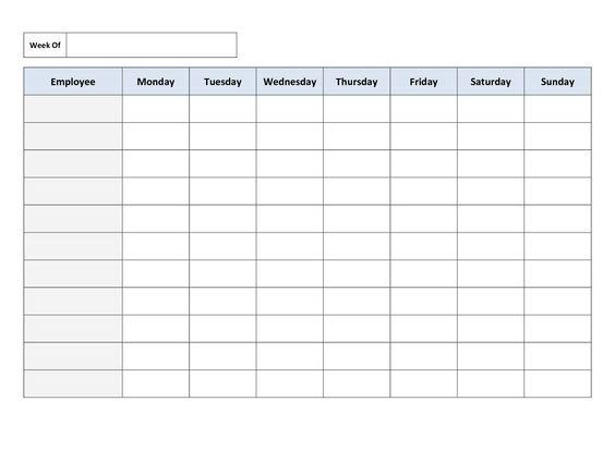 Free Printable Work Schedules Weekly Employee Work Schedule