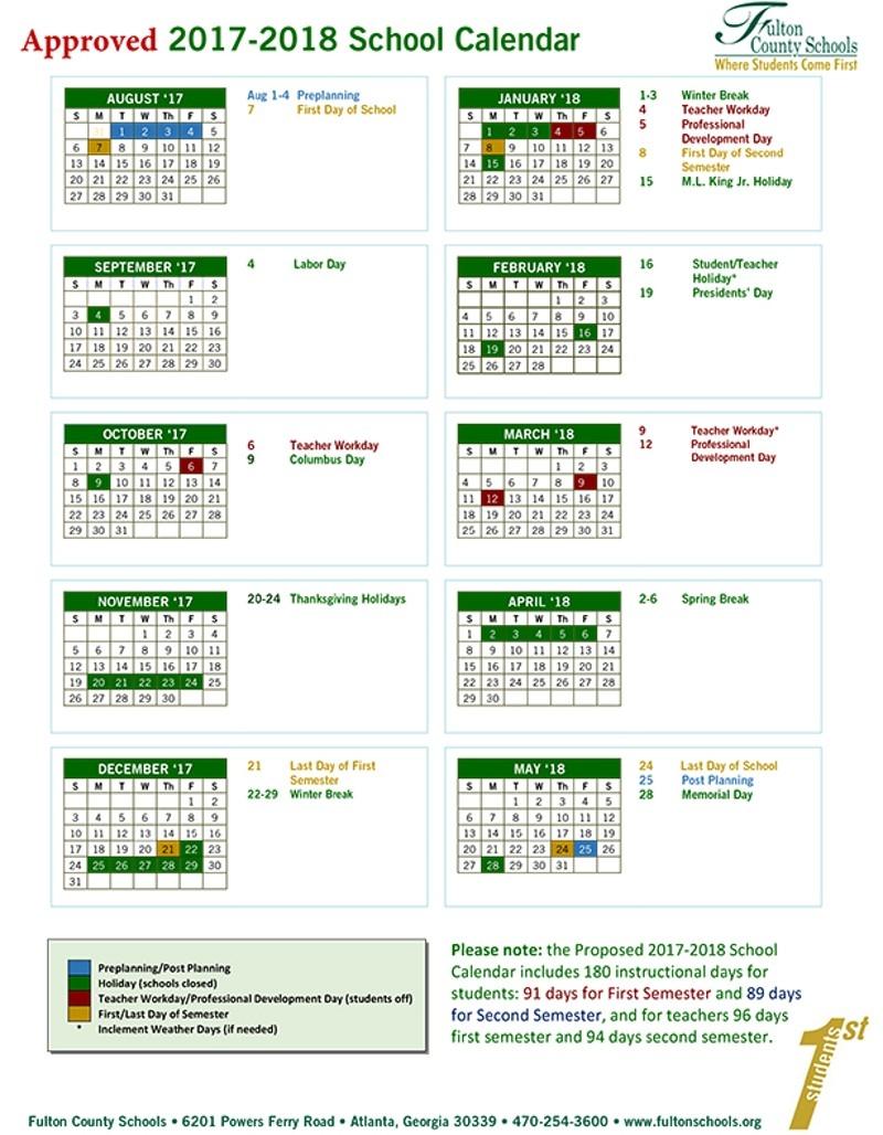 Fulton County School Systems 2017 18 Calendar3abry