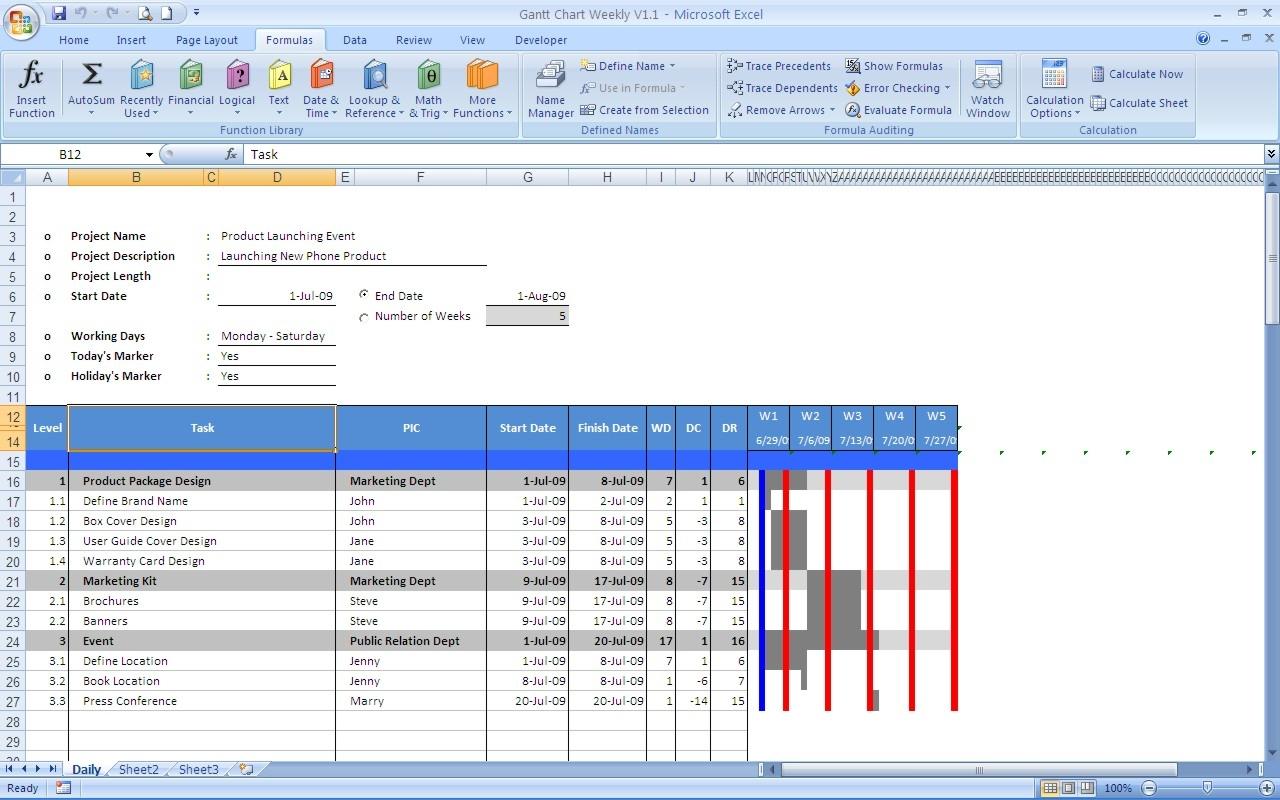 Gantt Chart Excel Templates 89uj