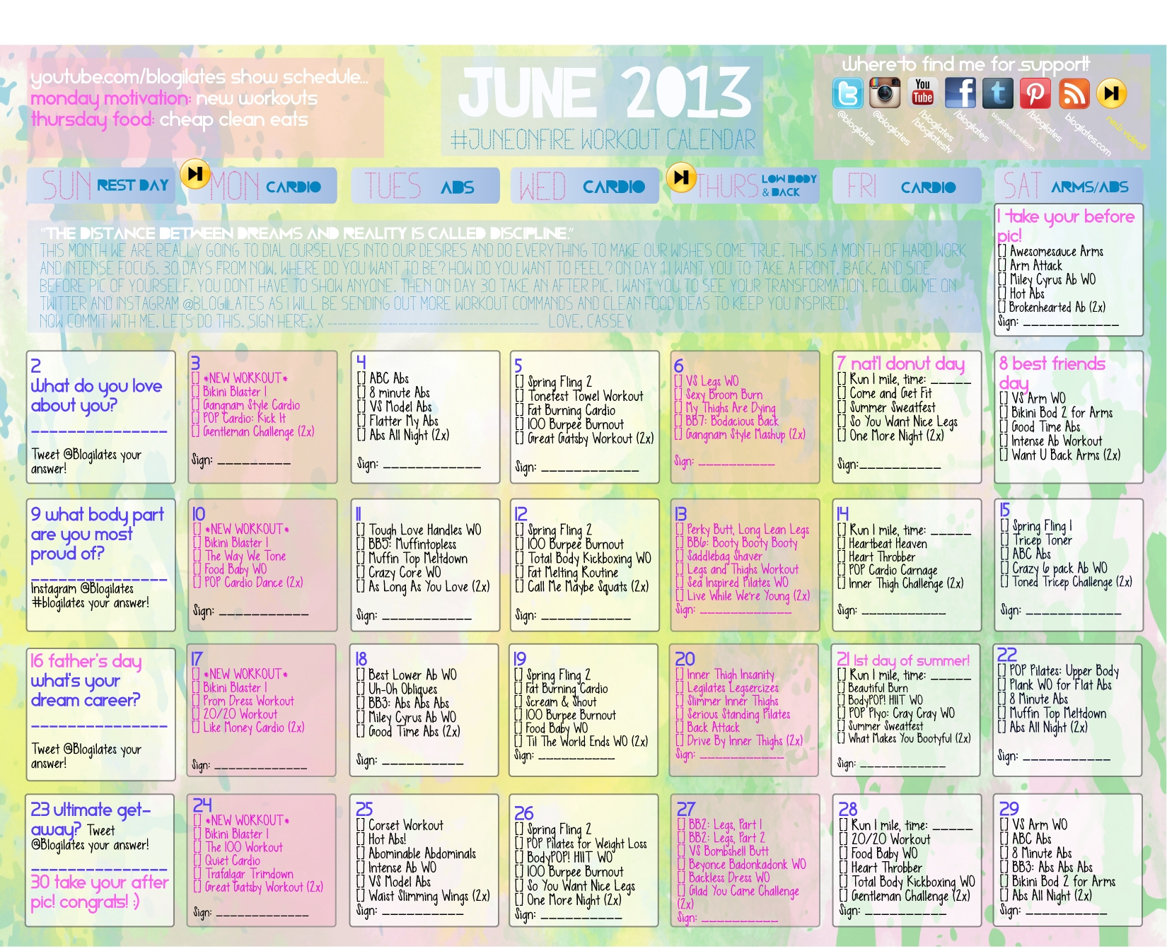 Gonna Try To Follow This Workout Calendar For June Whos With Me  Xjb