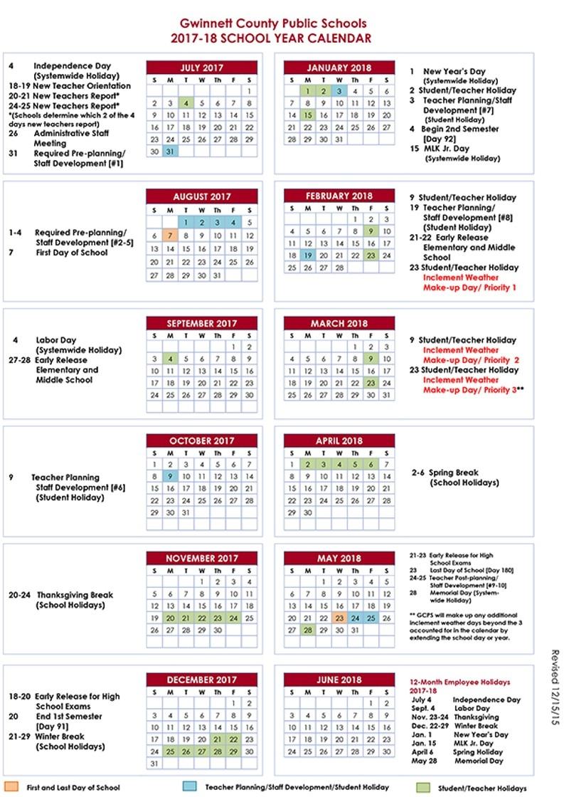 Gwinnett County School Calendar 2017 183abry