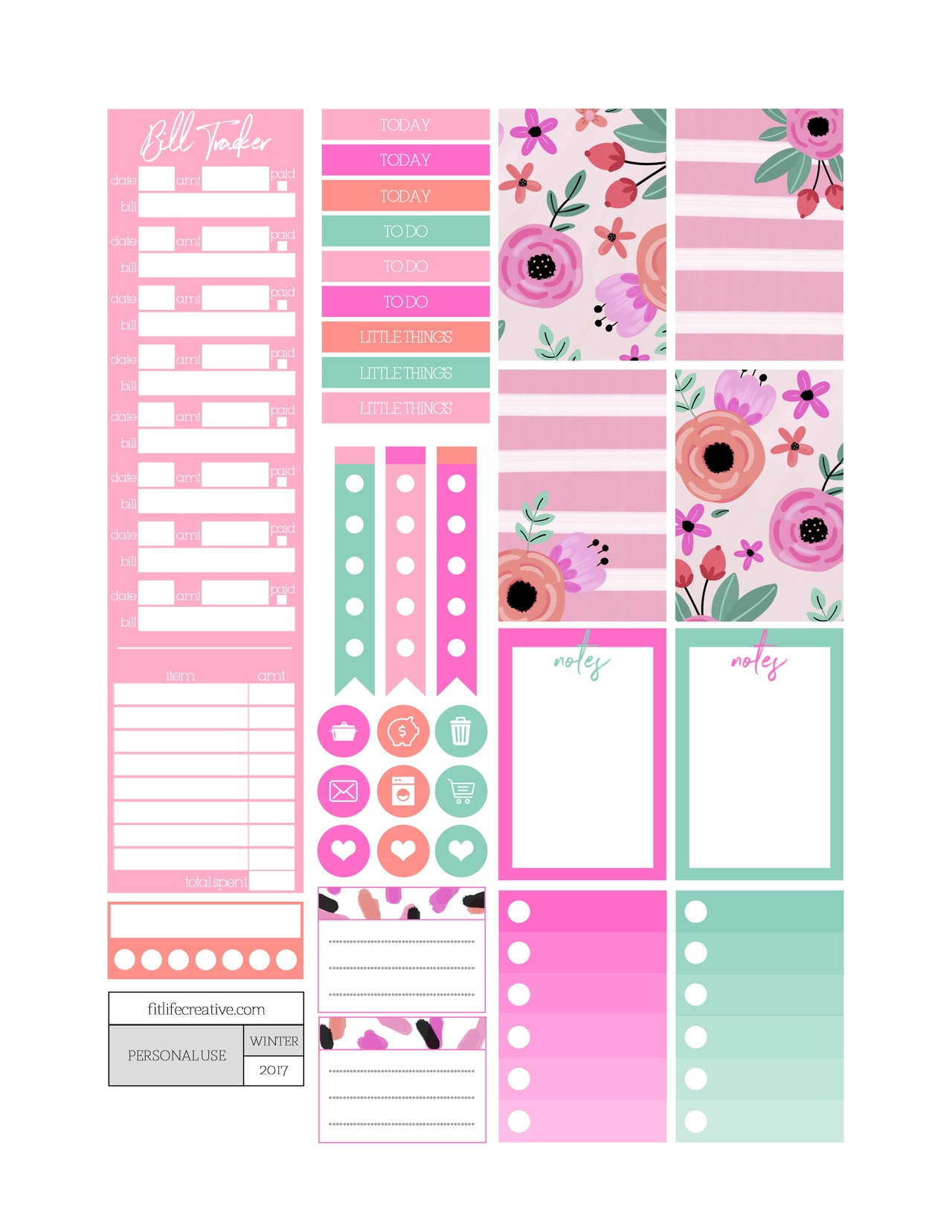 Holiday Hearts Free Printable Monthly Planner Kit Includes  Xjb