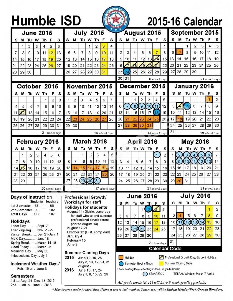 Humble Isd Calendar 2016 2017 Calendar Printable 2017 89uj