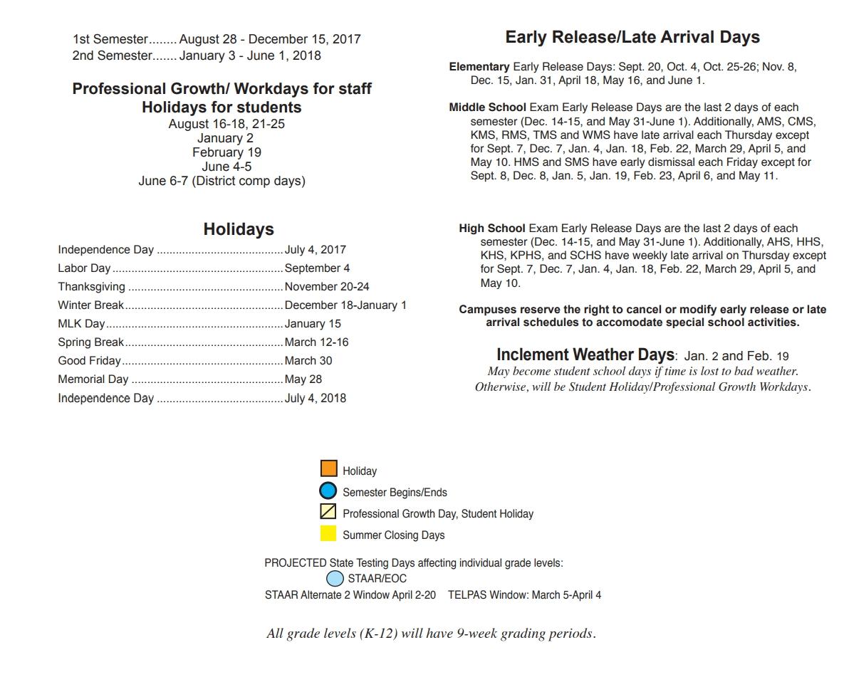 Humble Middle School District Instructional Calendar Humble 89uj