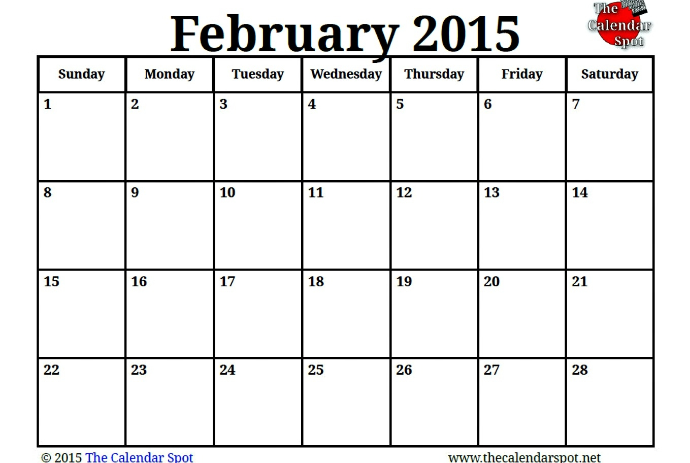 Image For Printable Blank Pdf February 2015 Calendar The