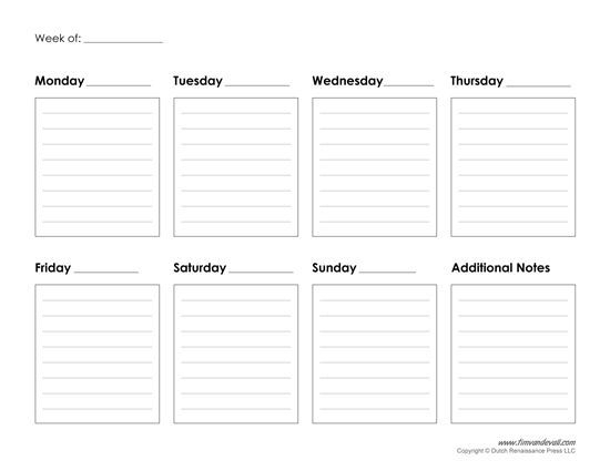 generic weekly calendar template free calendar template. Black Bedroom Furniture Sets. Home Design Ideas