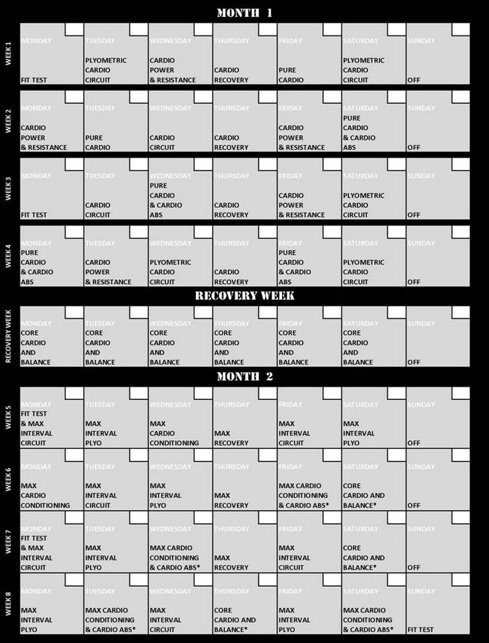 Insanity Workout Calendar Calendar Printable Free  Xjb