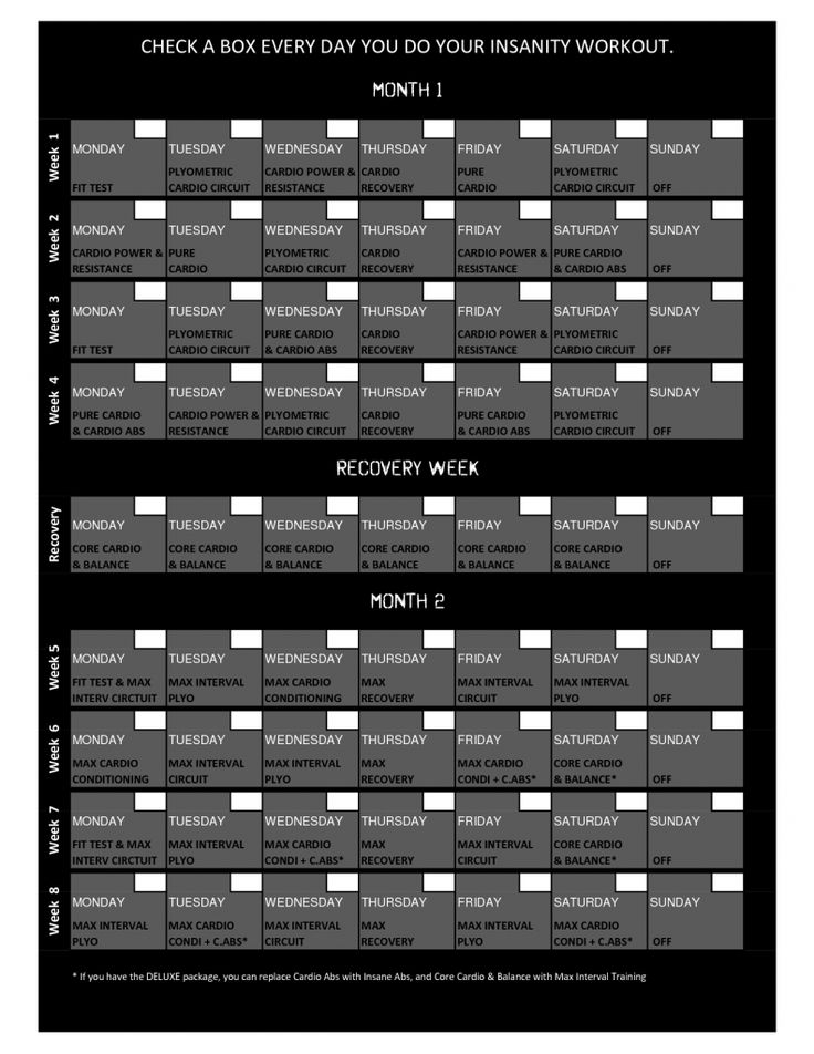 Insanity Workout Schedule Insanity Pinterest Insanity