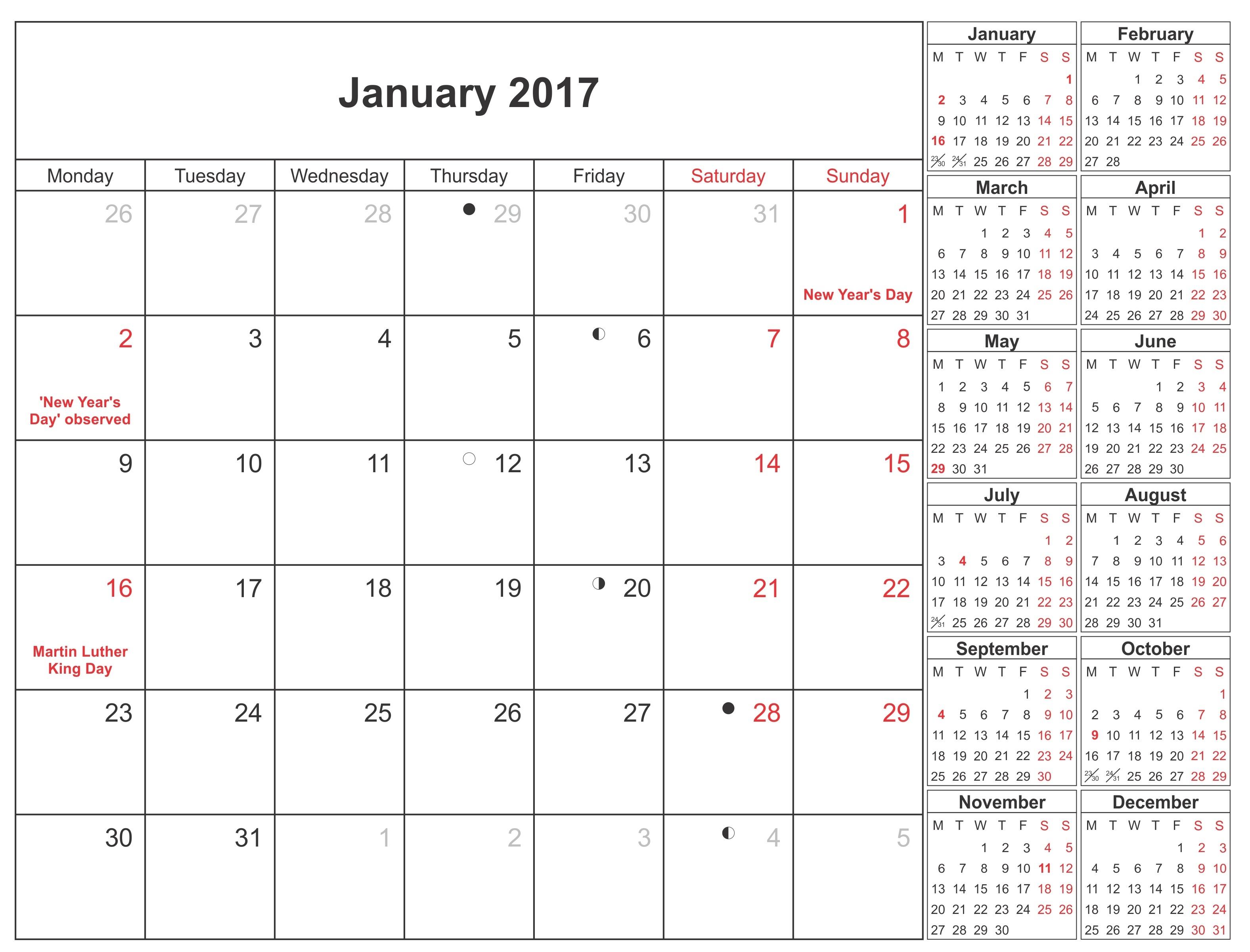 January 2017 Moon Phase Calendar Moon Schedule Free Printable 89uj