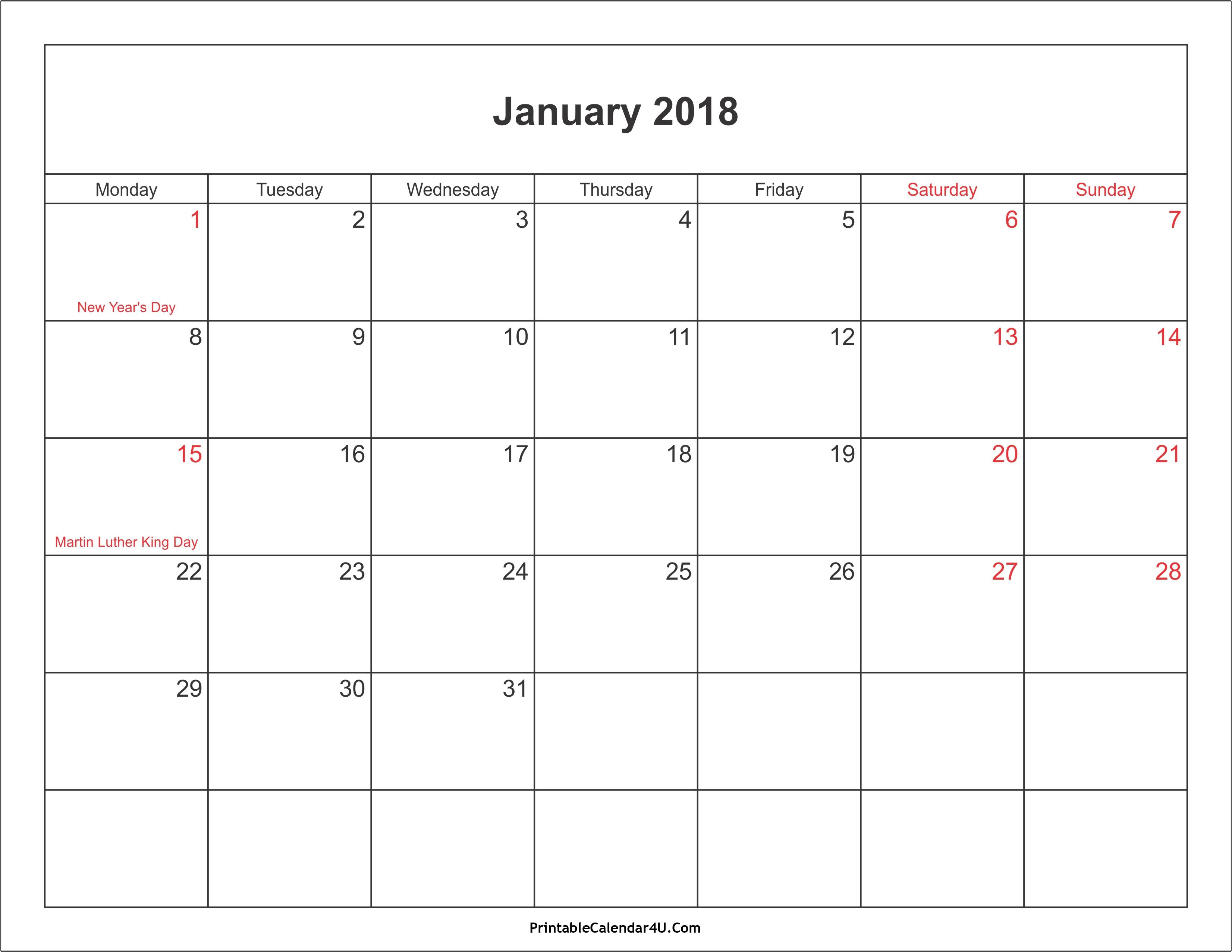 January 2018 Calendar With Holidays 2017 Calendar With Holidays3abry