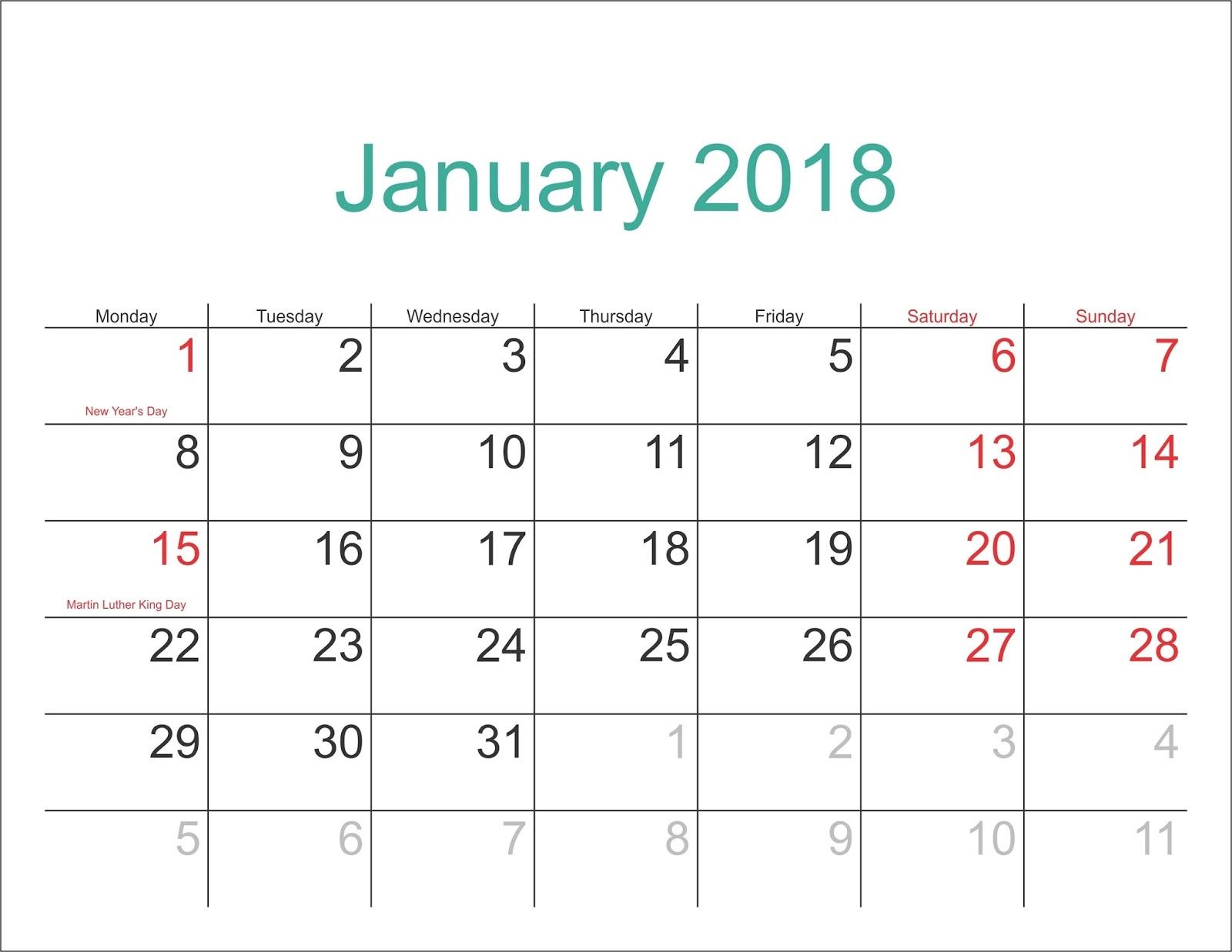 January 2018 Printable Calendar Templates 89uj