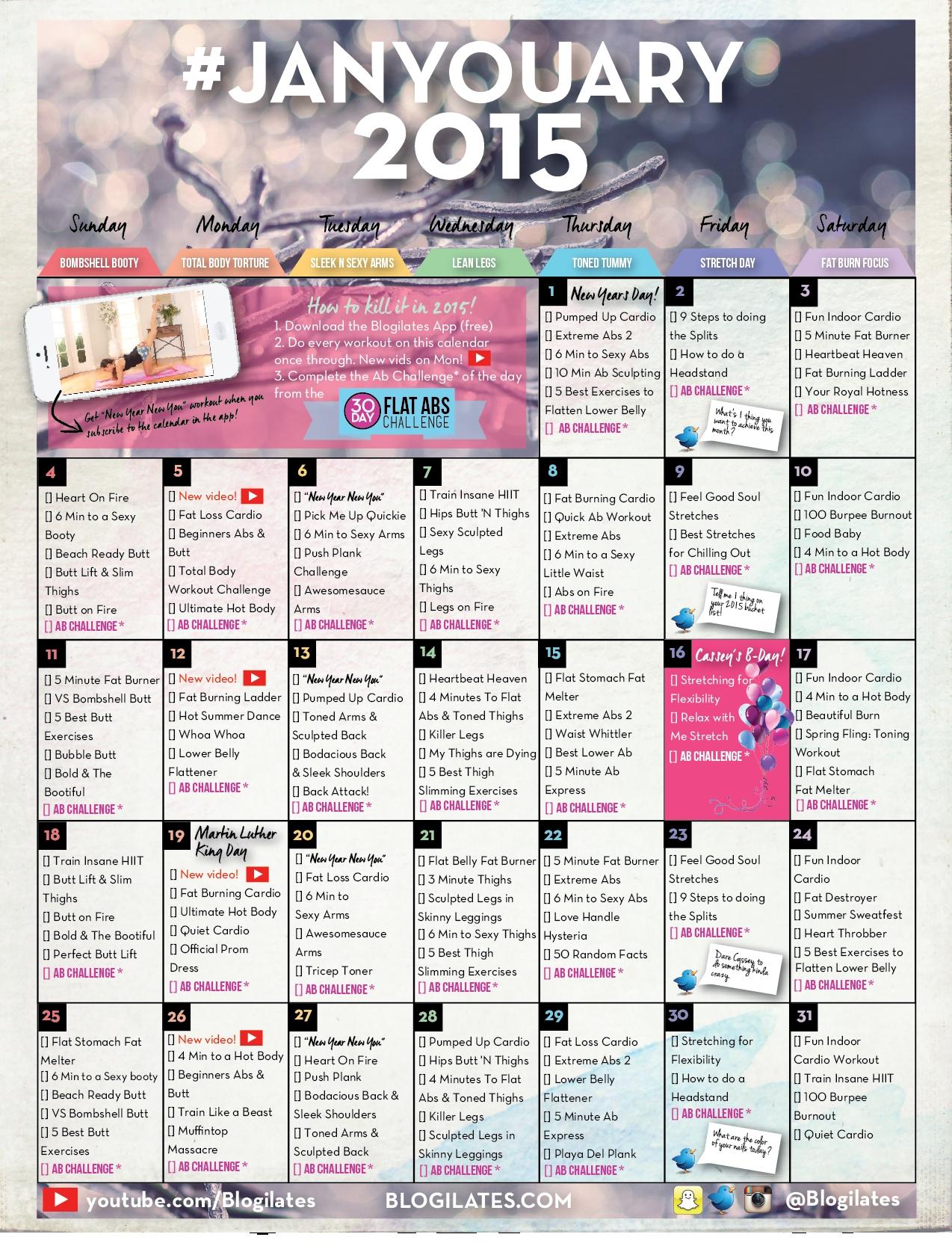 January Workout Calendar Archives Blogilates  Xjb