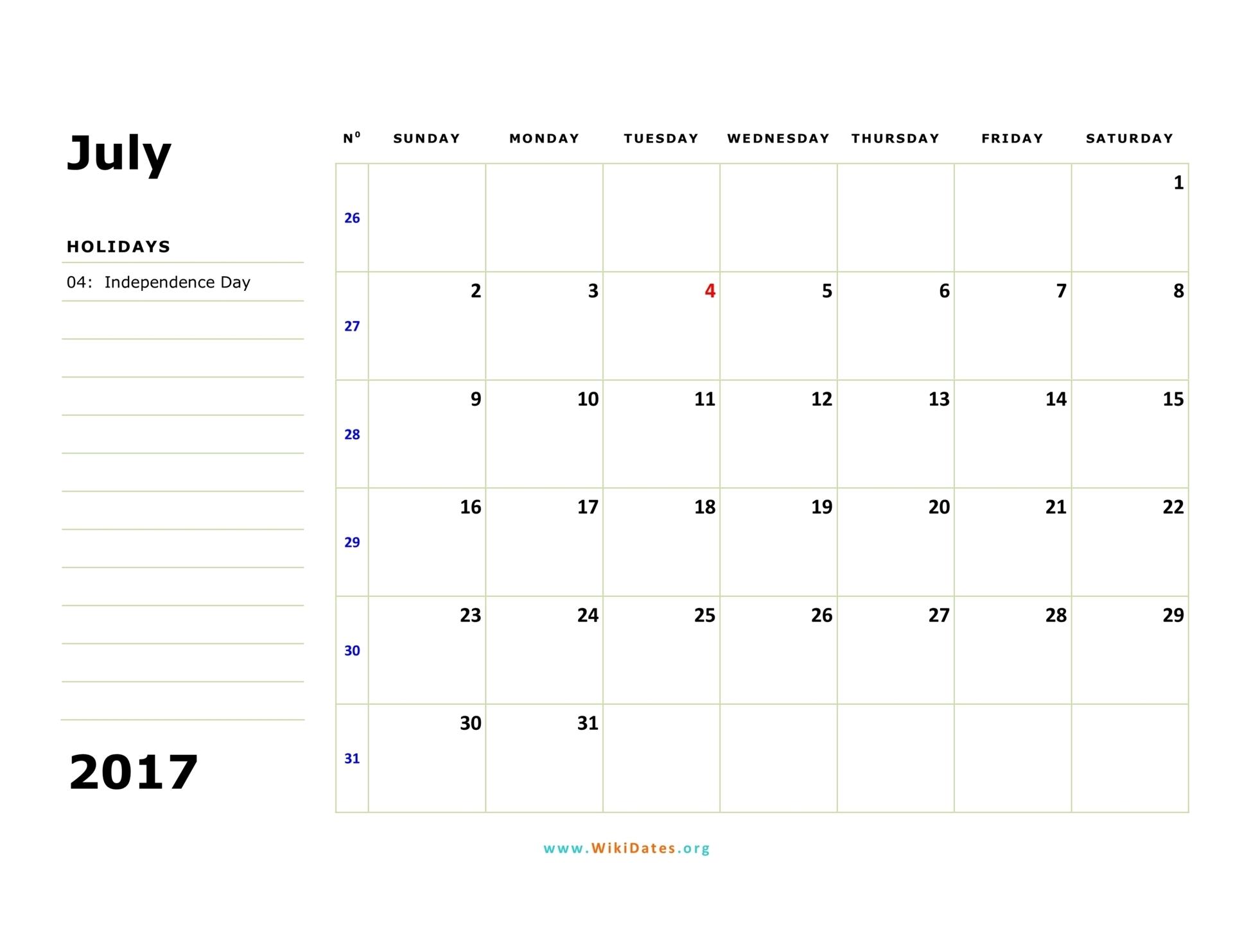 July 2017 Calendar Wikidates